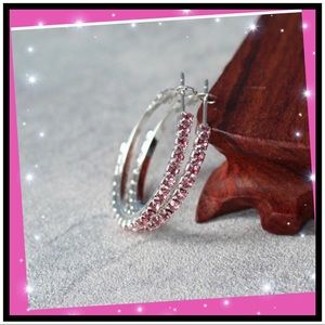 NWT Pink Crystal Hoop Earrings